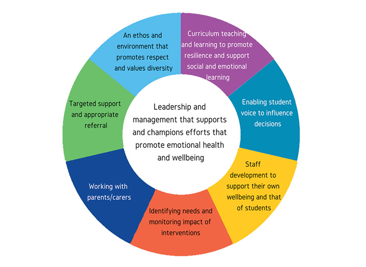 Whole School Approach wheel with coloured segments