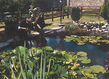 Two young adults are looking into a large pond full of water lily pads and pond rushes
