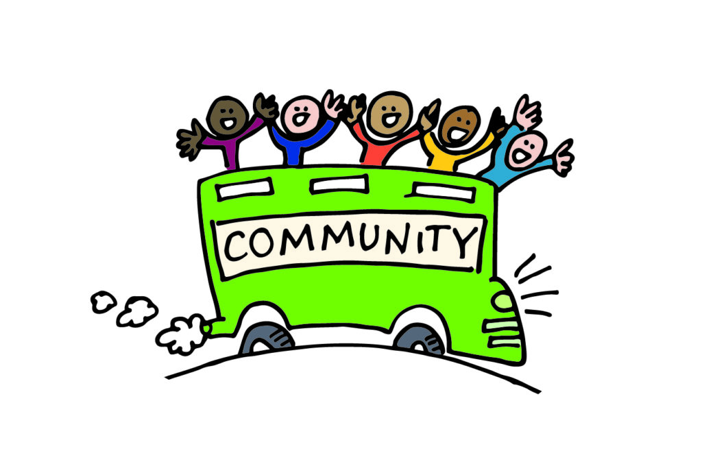 An illustration of an open top double-decker bus with COMMUNITY written on the side with people on the top of the bus cheering