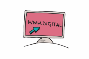 An illustration of a computer monitor with an arrow pointing towards WWW.DIGITAL on the screen