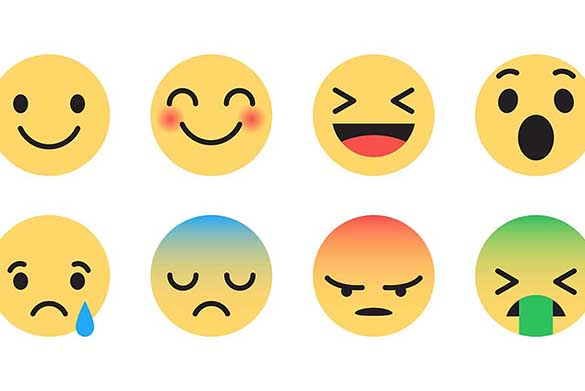 Eight emoji faces showing different emotions from happiness to sadness and laughter to anger