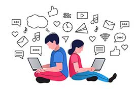 An illustration showing two young adults sitting back to back on the floor checking their laptops with thought bubbles and various generic internet and social media icons around their heads