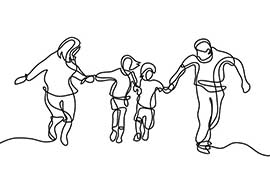A line drawing of a family of two adults and two children holding hands