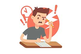 An illustration of a young man getting angry, frustrated and stressed as he studies