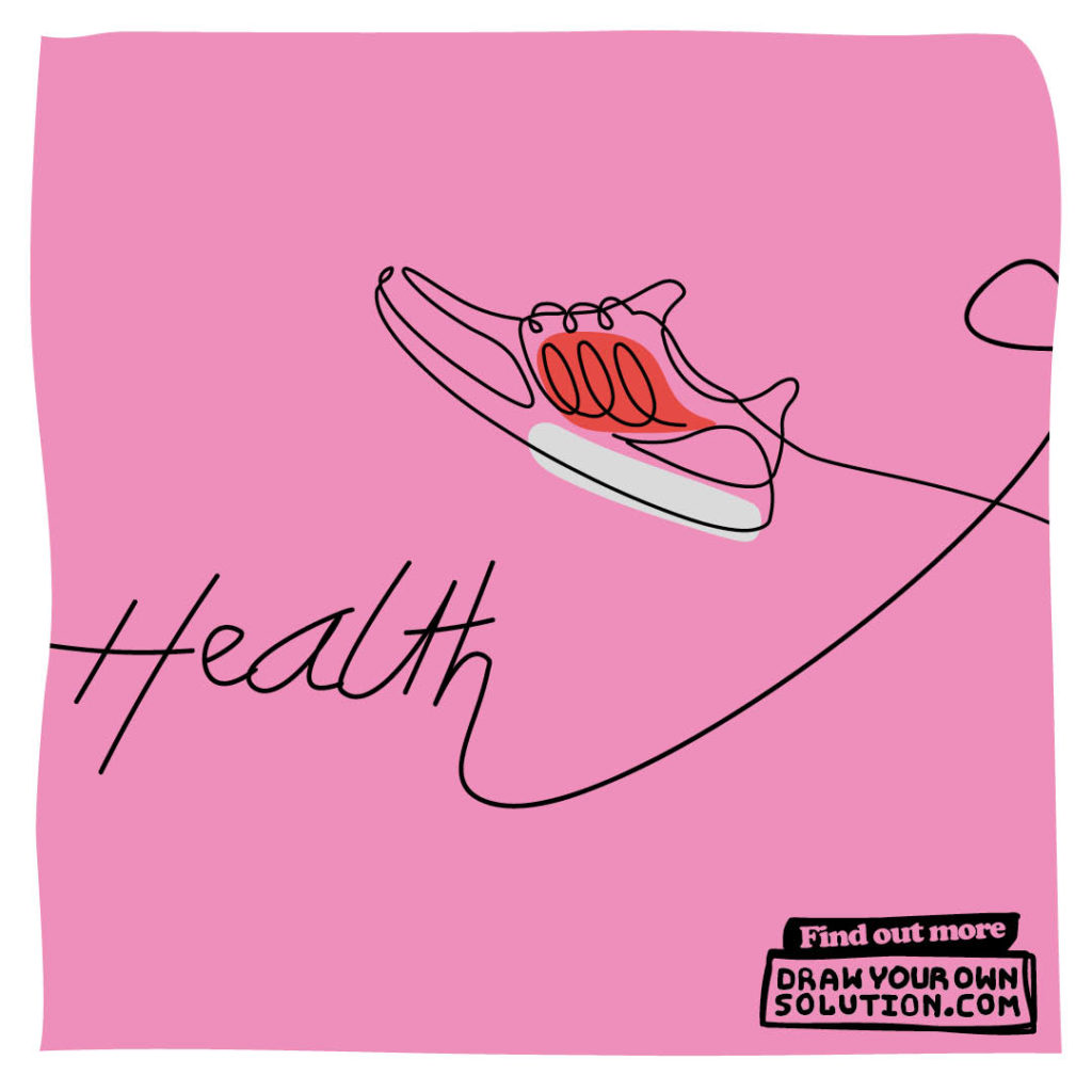 Illustration of a trainer and the word health on a pink background