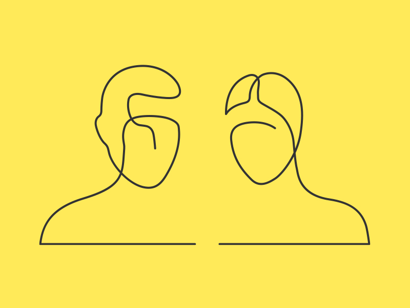 sketch of a male and female on yellow background