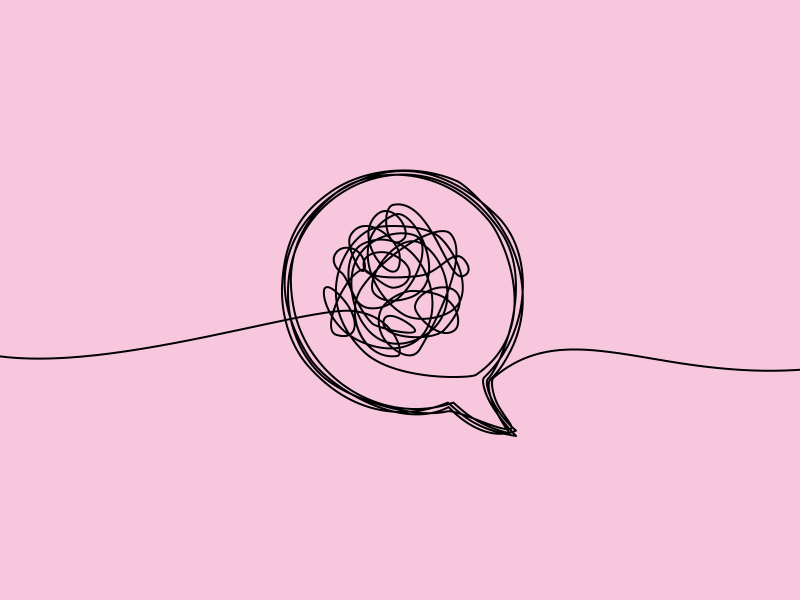 Sketch of speech bubble with tangled string inside