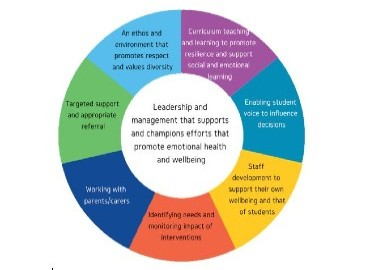 Colourful wheel divided into the 8 whole school approach principles