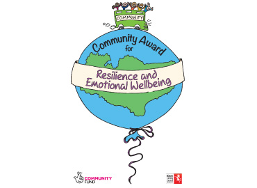 Community Award logo - a large world balloon, a bus of children on top and a banner through the middle saying 'resilience and emotional wellbeing'