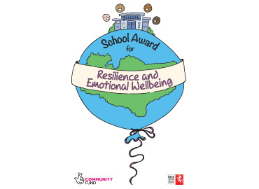 School award logo - a large world balloon, a school building and faces on top and a banner through the middle saying 'resilience and emotional wellbeing'