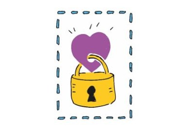 Cartoon gold padlock with a purple heart