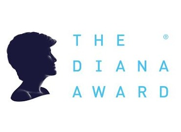 White background with an image of Princess Diana and blue text