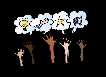Five cartoon hands reaching up to a cartoon lightbulb, hand, star and target