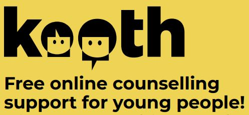yellow background, Kooth logo, stating free online counselling and support for young people
