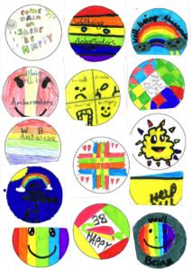 children's hand drawn badge designs for Wellbeing Ambassador role