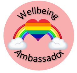 peach circle badge with rainbow and clouds and a rainbow heart