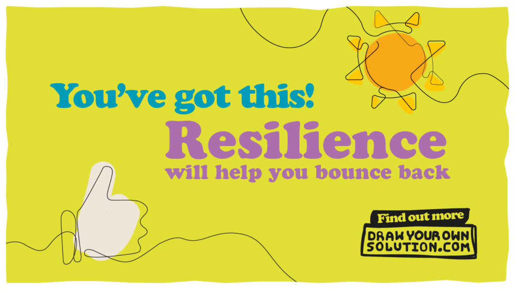 You've got this! Resilience will help you bounce back, written on a green background with a line drawing of a hand doing a thumbs up and another of a sun