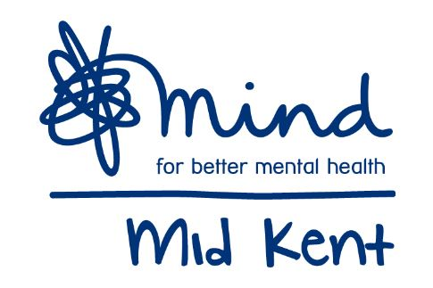 Mid Kent Mind logo, a White background with Mid Kent Mind and for better mental health in blue writing
