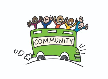 Cartoon green bus with 'community' written along the side and cartoon people smiling and waving on top of the bus