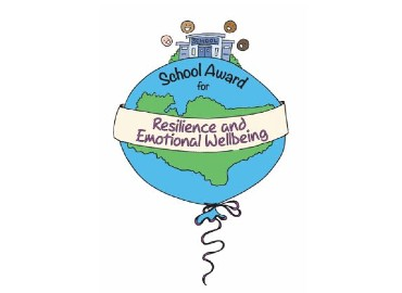Blue cartoon balloon on a white background with 'resilience and emotional wellbeing banner' and a cartoon school on top of the balloon