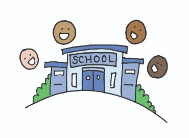 Cartoon school entrance with four cartoon faces smiling above the entrance