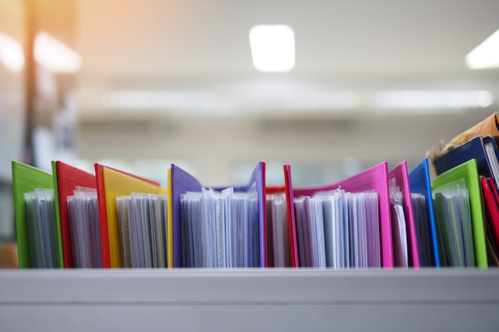 Photo of a colourful filing system