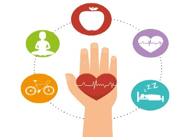 Cartoon hand with wellbeing imagery such as an apple, sleep, and exercise