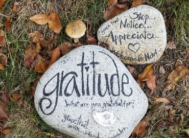Two rocks on the grass with words such as 'gratitude' and 'appreciate' written on them