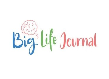 Big Life Journal logo - The words 'Big Life Journal' written in blue, green and red in bubble handwriting with a hand drawn image of a brain above the word 'Big'.