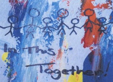 Colourful child's painting of stick figures and the words 'in this together'