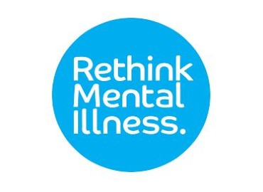 Logo of 'rethink mental illness' - a light blue circle on a white background. In the middle of the circle written in white letters are the words 'Rethink Mental Illness'.