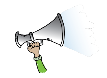 A cartoon graphic of a hand and arm with a green sleeved top, holding uo in the air a megaphone speaker