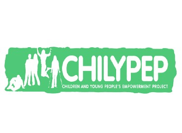 Chilypep logo - on a green background are white silhouette images of teenagers - one sitting down, two hugging, one jumping and other standing with crutches. Next to the images is the word CHILYPEP in white letters. Underneath the word it says 'children and young people's empowerment project'.