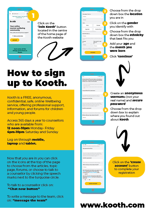 Information Resources On How To Sign Up To Kooth.