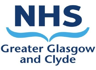 NHS Glasgow and Clyde logo - On a white background, the word NHS written in dark blue, with two light blue wave patterns underneath, and below that the words 'Greater Glasgow and Clyde in dark blue.