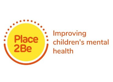 Place2Be logo - a yellow circle to the left with Place2Be written in red, with 'improving children's mental health' in red to the right