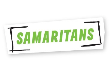 Samaritans logo - a white rectangular piece of paper on a white background with shadow around it, with the word SAMARITANS in capitals in lime green, with black handrawn square brackets on either side of the word.