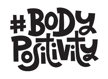 White background and in think black swirly bubble writing the words '#body positivity'.