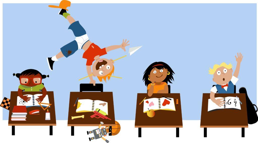 cartoon classroom with one child cartwheeling across desks