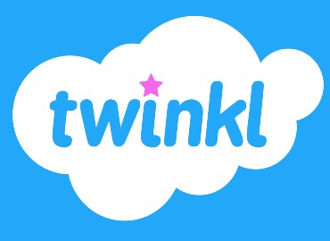 Twinkl logo - bright blue background, with a white cloud in the middle. In the same blue as the background the word 'twinkl' in lowercase bubble writing. The dot of the 'I' is a pink star.