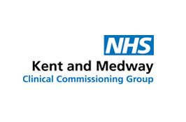 White background with the blue NHS logo and black writing 'Kent and Medway' with blue 'clinical commissioning group' underneath