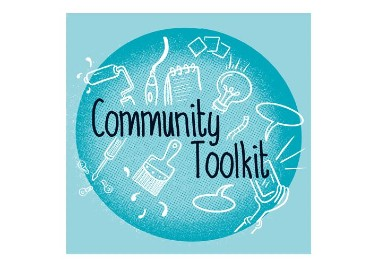 Blue circle with white drawings such as a hammer, pen, paintbrush and black writing 'community toolkit'
