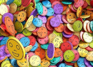 Colourful stickers with different emotions on them such as happy, angry, sad