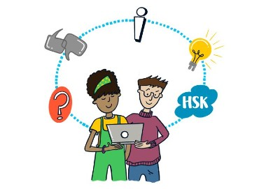 A cartoon of 2 staff members holding a laptop with thoughts and ideas floating around them