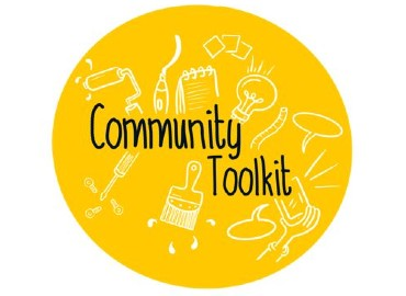 A yellow circle with Community Toolkit written in the middle and drawings of various activities in the background