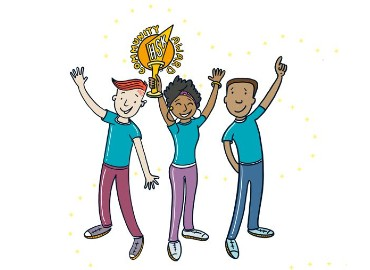 A cartoon of three young people holding their hands in the air, with one of them holding a trophy saying Community Award on it