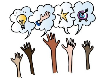 5 hands raised with speech bubbles above, one with a light bulb in it, another with a hand, another with a star and the last with a target board and arrow