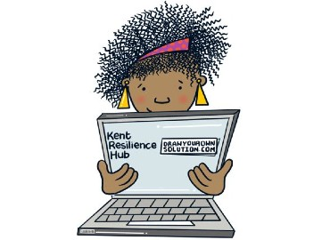 Cartoon of a person holding a laptop which has Kent Resilience Hub written on the screen