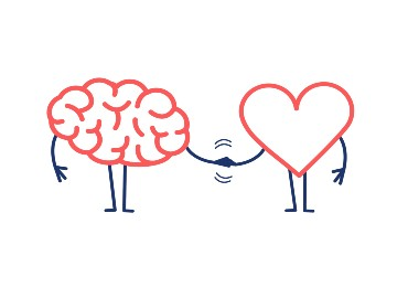 brain and heart holding hands